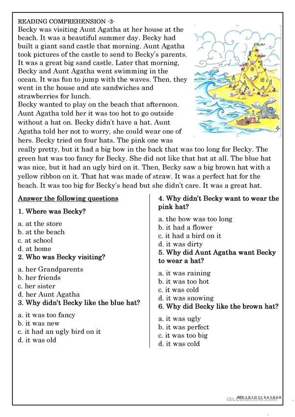 Reading Comprehension for beginner and Elementary Students 3 ...
