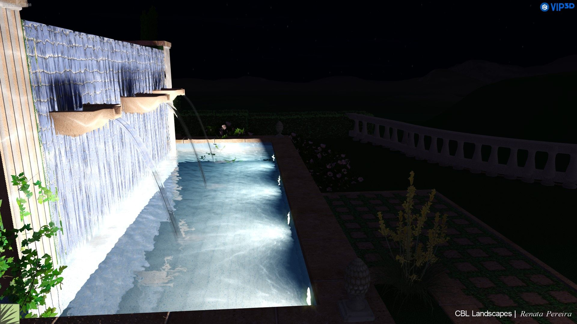 Garden landscape night  Pin by CBL Landscapes on Infinty Pool in Beverly Hills  Pinterest