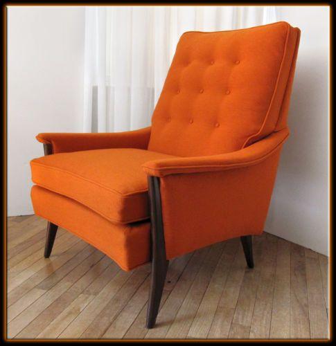 60s Mid Century Modern Kroehler Lounge Arm Chair Walnut W Orange