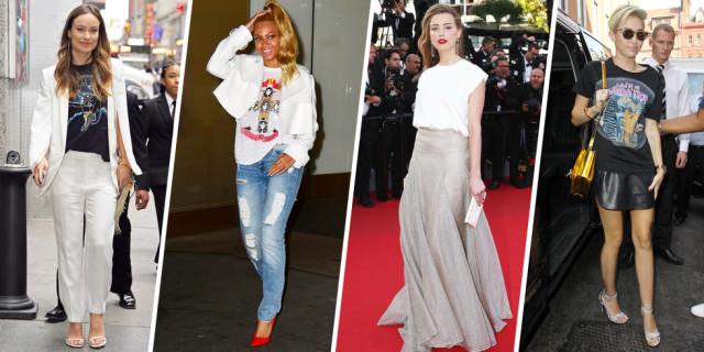 15 Times Celebrities Made T-Shirts Look Chic  - HarpersBAZAAR.com