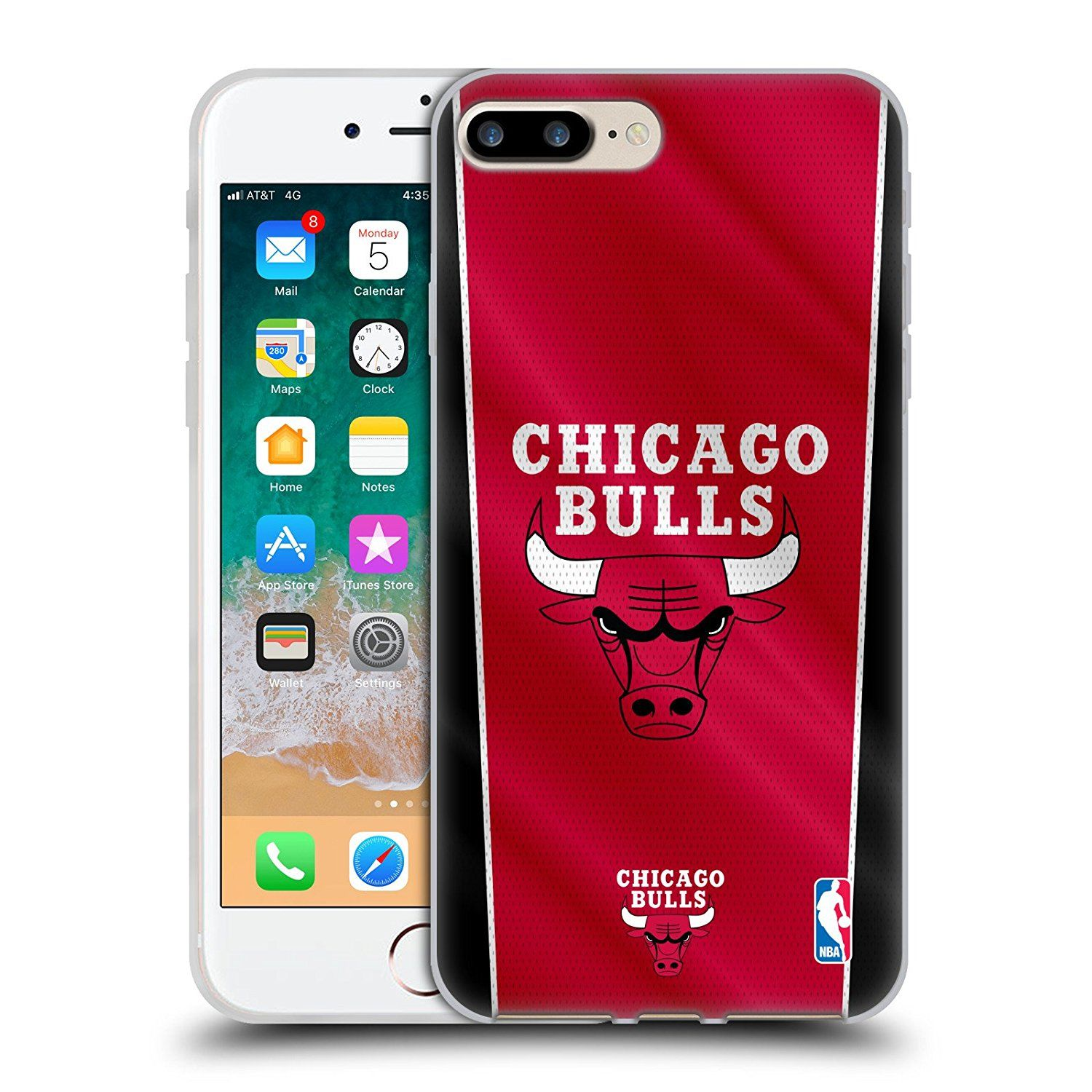 ficial NBA Banner Chicago Bulls Soft Gel Case for Apple iPhone 7 Plus 8 Plus