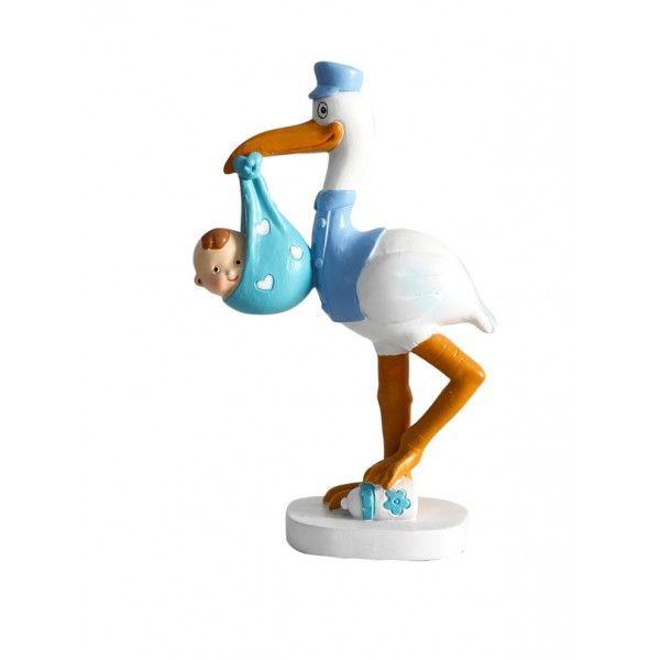 Figura Tarta Bautizo Cig/üena azul bebe coche