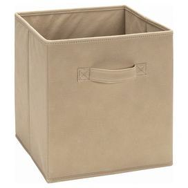 "Made in the USA, this fabric storage bin is perfect for stowing magazines in your living room or toys in the playroom.   Product: Storage bin  Construction Material: Cotton canvas Color: Mocha Features: Pull-out handle on binMade in the USA Dimensions: 11"" H x 10.5 "" W x 10.5"" D"
