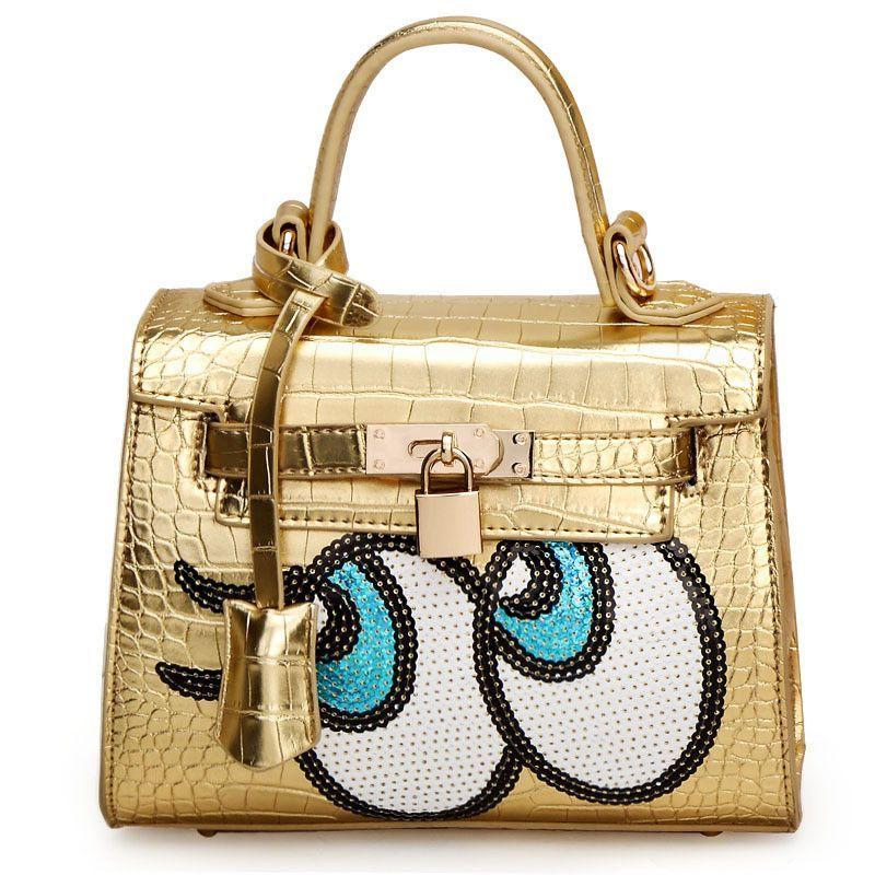 05be4347b769 Cute Big Eye Handbag Designer Padlock Leather Messenger Bags Luxury Fashion  Women Silver Shoulder Bag Famous Brand bolso XA517H