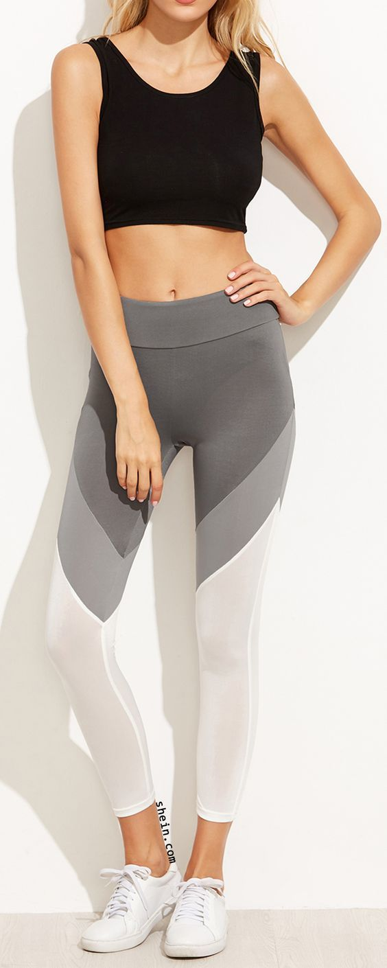 Color Block Wide Waistband Leggings Fitness Apparel