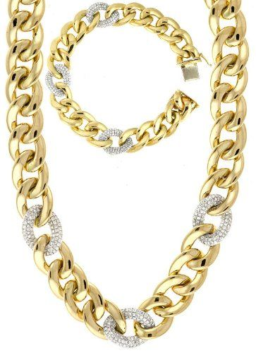 "Jewelry Set: 14KT Yellow Gold 4.07ct tw Diamond High Polish Link Chain 7.5"" Bracelet and 18"" Necklace Jewelplus,http://www.amazon.com/dp/B00I60TBM4/ref=cm_sw_r_pi_dp_pkuqtb08XNYR66GY"