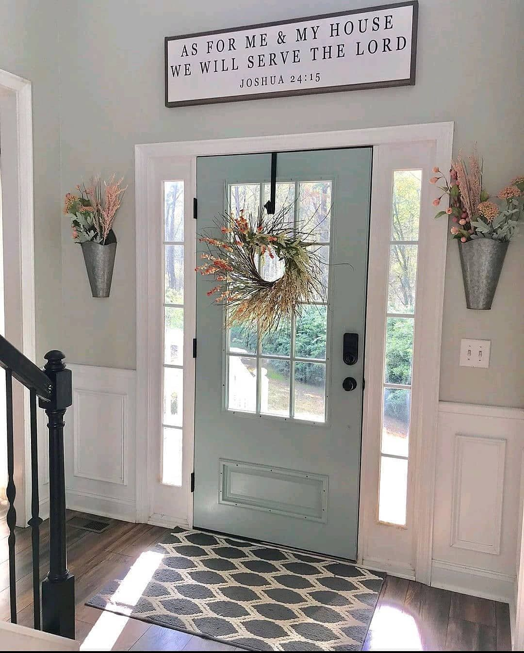 """Farmhouse Homes 🏡 on Instagram: """"This is entryway goals for sure! 😍 That front door is so dreamy and we love the light blue color! ❤️ What do you think? TAG a friend who…"""""""