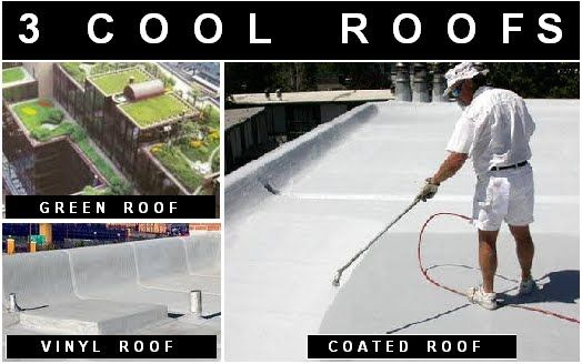 3 types of cool roofs green roofs vinyl tpo epdm roofs coated
