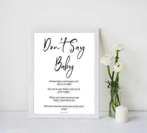 Dont Say Baby Game, Printable Baby Shower Games, Dont Say Baby Game, Clothes Pin Baby Shower Game, Baby Shower Games, fun Baby Games, S1
