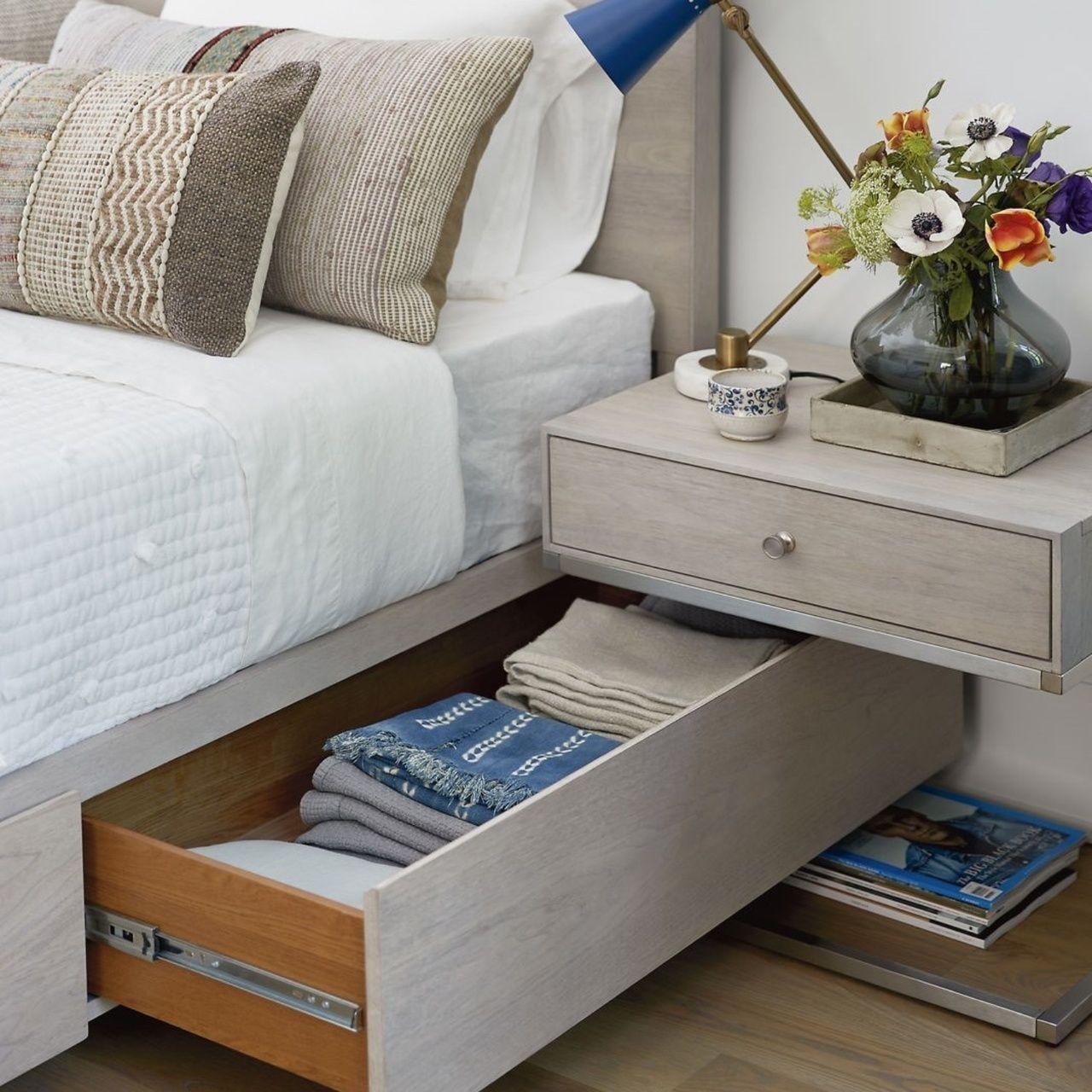 Urban Modern Mist Gray Queen Platform Storage Bed Storage Bed