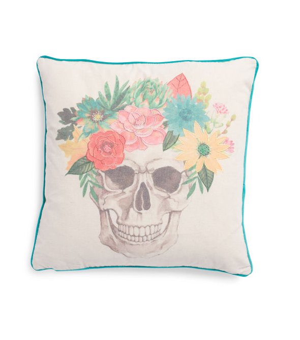 Mary & Edgar 20x20 Faux Linen Botanical Skull Pillow