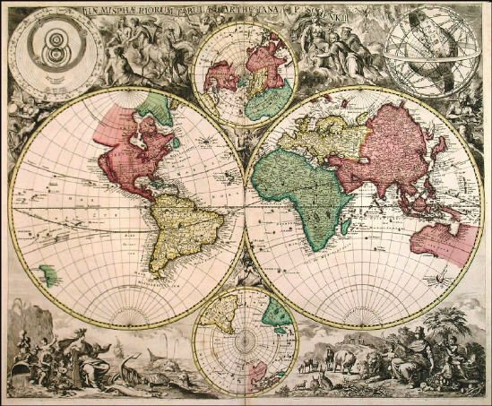 Extremely rare double hemisphere world map with smaller north and