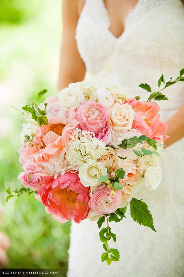 Garden Rose And Peony Bouquet coral peonies, garden roses, ranunculus, hydrangea, astilbe and