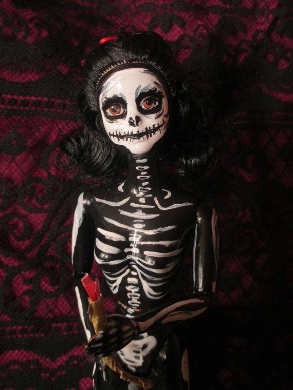 Barbie Halloween Skeleton Doll.  Hmmmm.. I've never thought to paint Barbie!