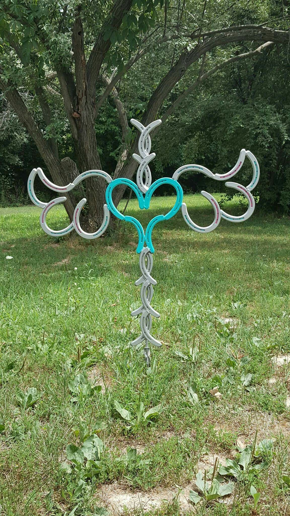 This angel wing horseshoe cross is so pretty Crafts