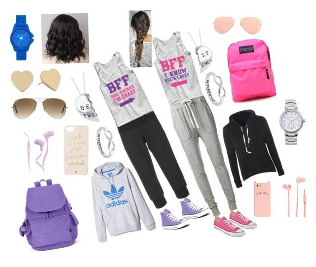 """""""Best Friends"""" by eliana-schaer83 ❤ liked on Polyvore featuring Lucy, James Perse, Eternally Haute, Converse, Glamorous, JanSport, Kipling, Kate Spade, Merkury Innovations and Ray-Ban"""