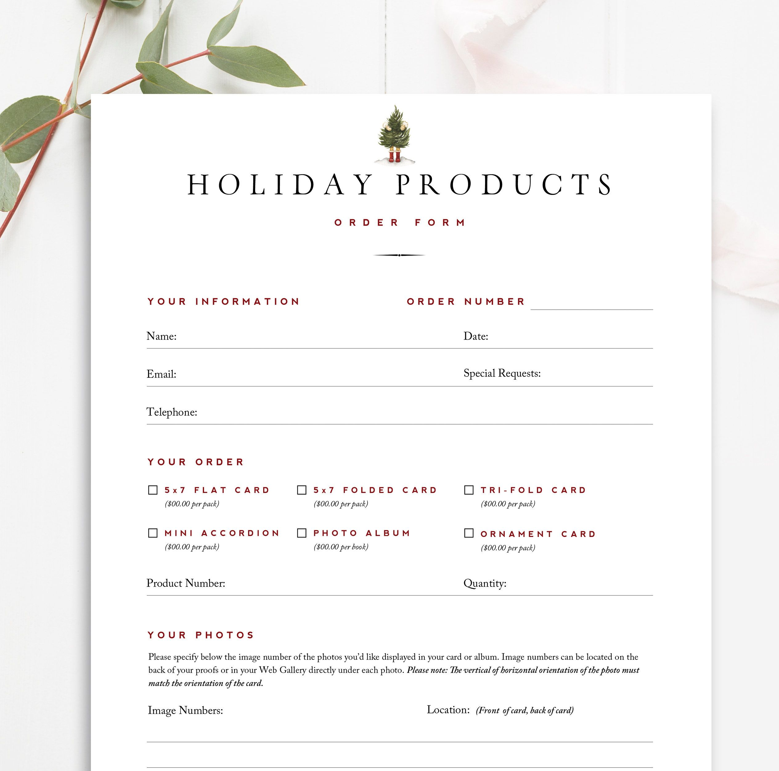 Christmas Card Order Form Photographer Forms Photoshop Etsy Photoshop Template Design Mini Session Template Product Catalog Template