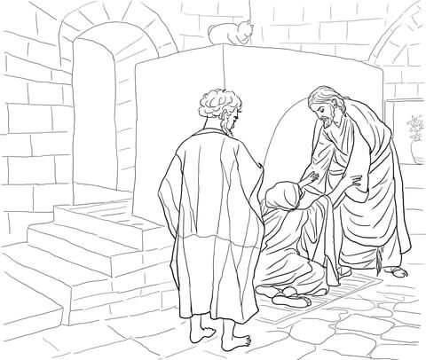 Jesus Healing Peter S Mother In Law Coloring Page Jesus Heals
