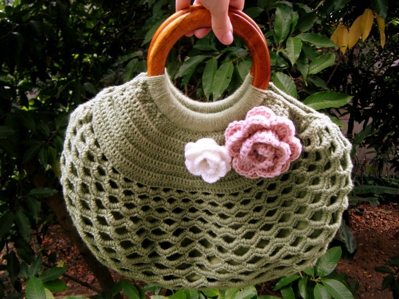 Firefly Crochet By Chiu Woolen Handbag Wooden Handles With