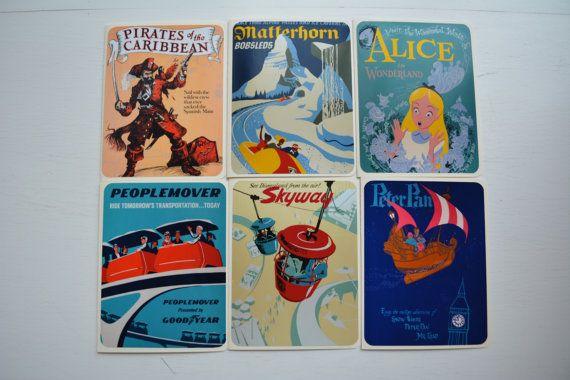 Vintage Disneyland Greeting Cards Disney Prints by ThePaperArcade