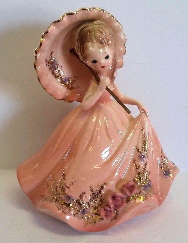 Vintage Josef Originals Victorian Parasol Pink Rose Lady ...