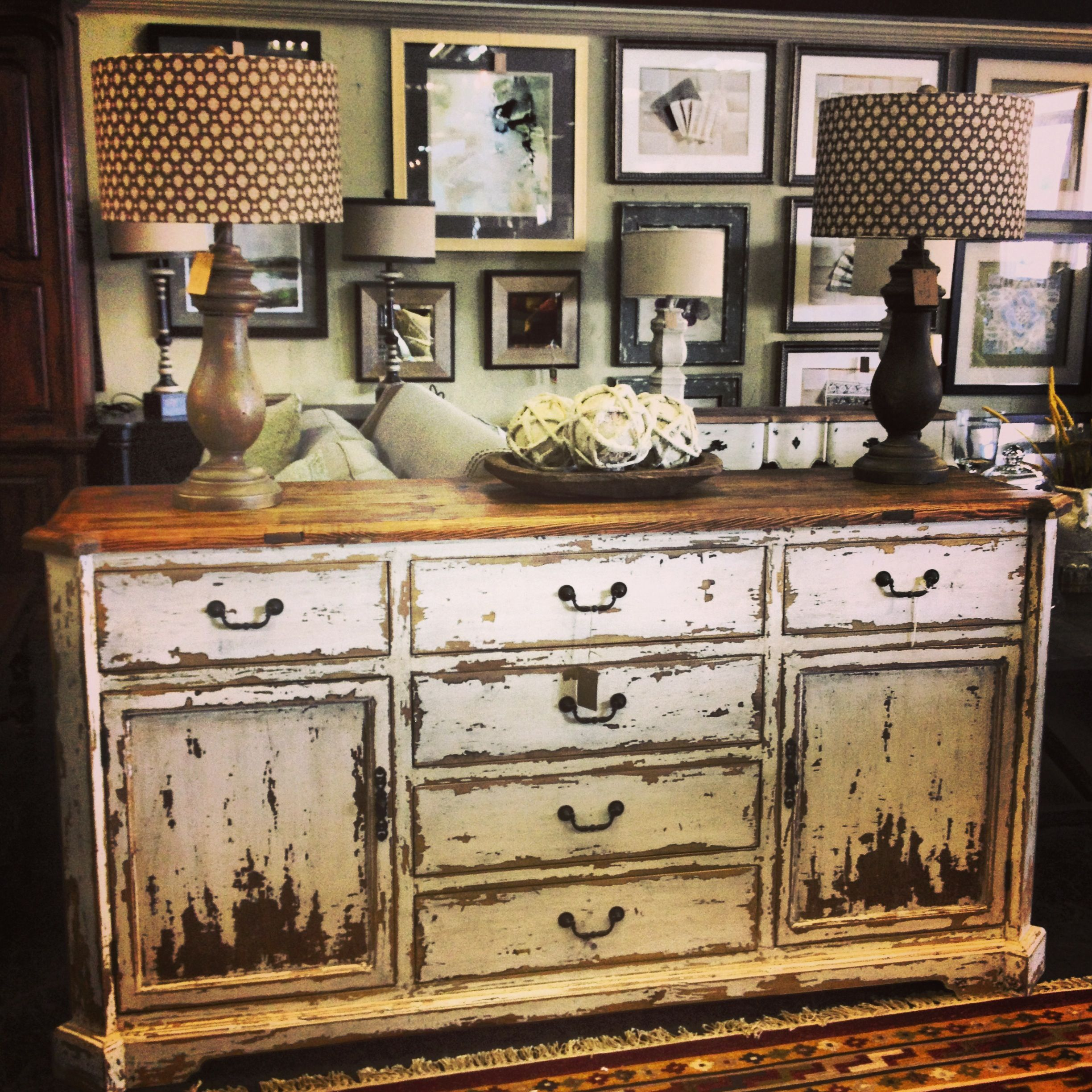 Superior Rustic Dresser With White Washed Finish