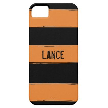 Personalized Orange & Black Striped iPhone Case - stripes gifts cyo unique style