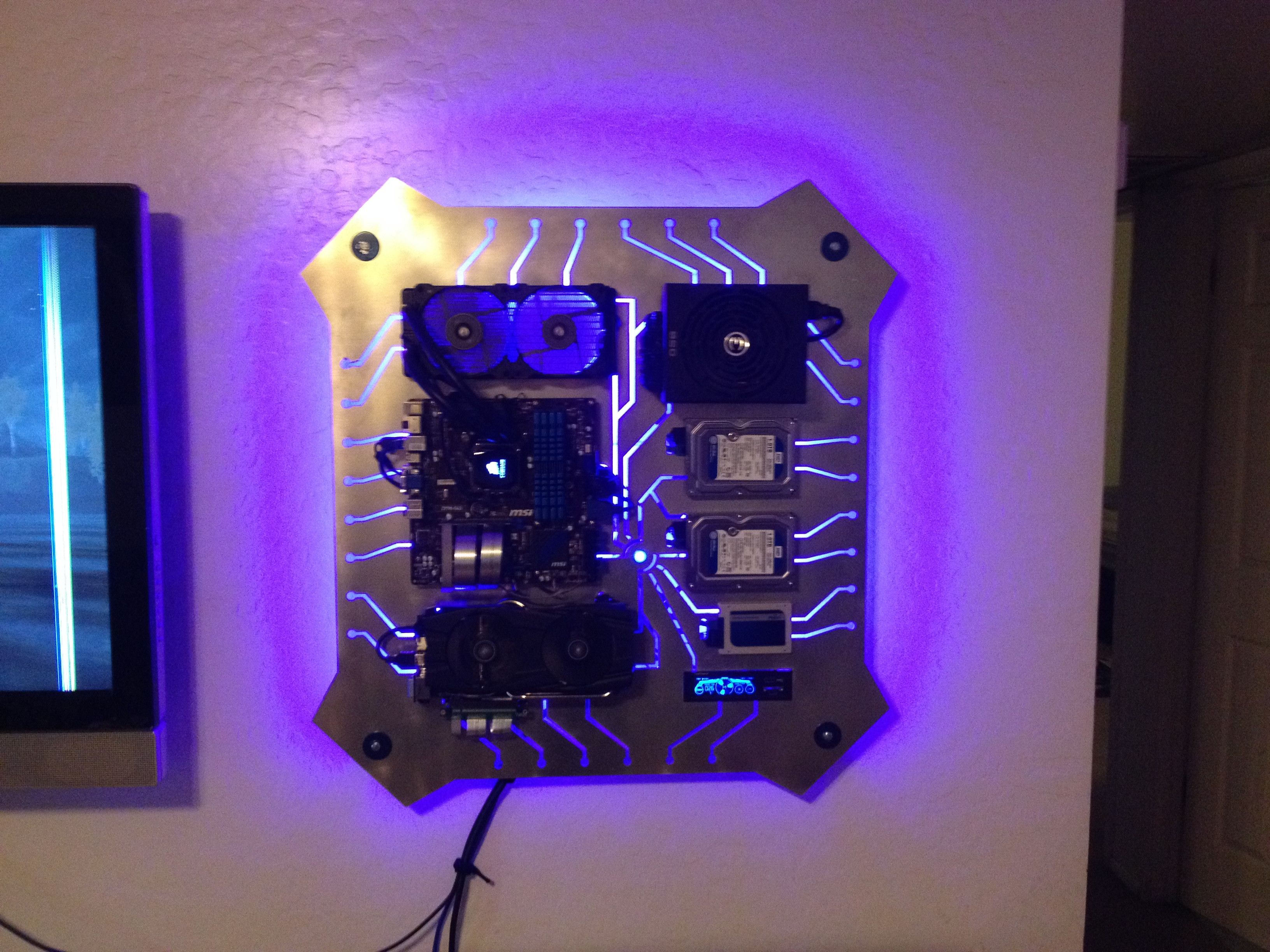 I made a custom wall mounted PC for my SO and I want to show off  awesomeness  Wall mounted
