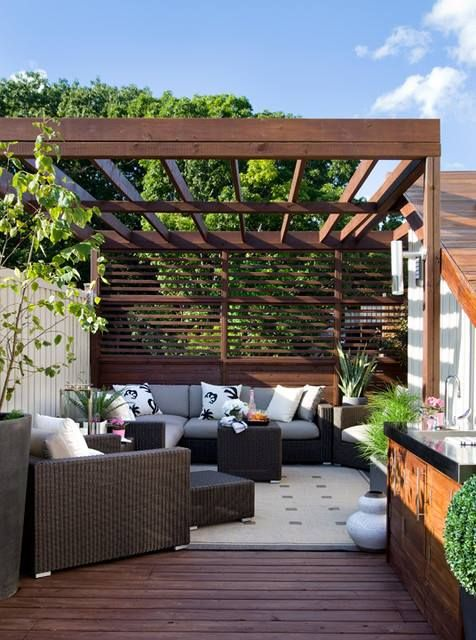Combo Of Pergola And Privacy Wall Idea For Off Of Bedroom