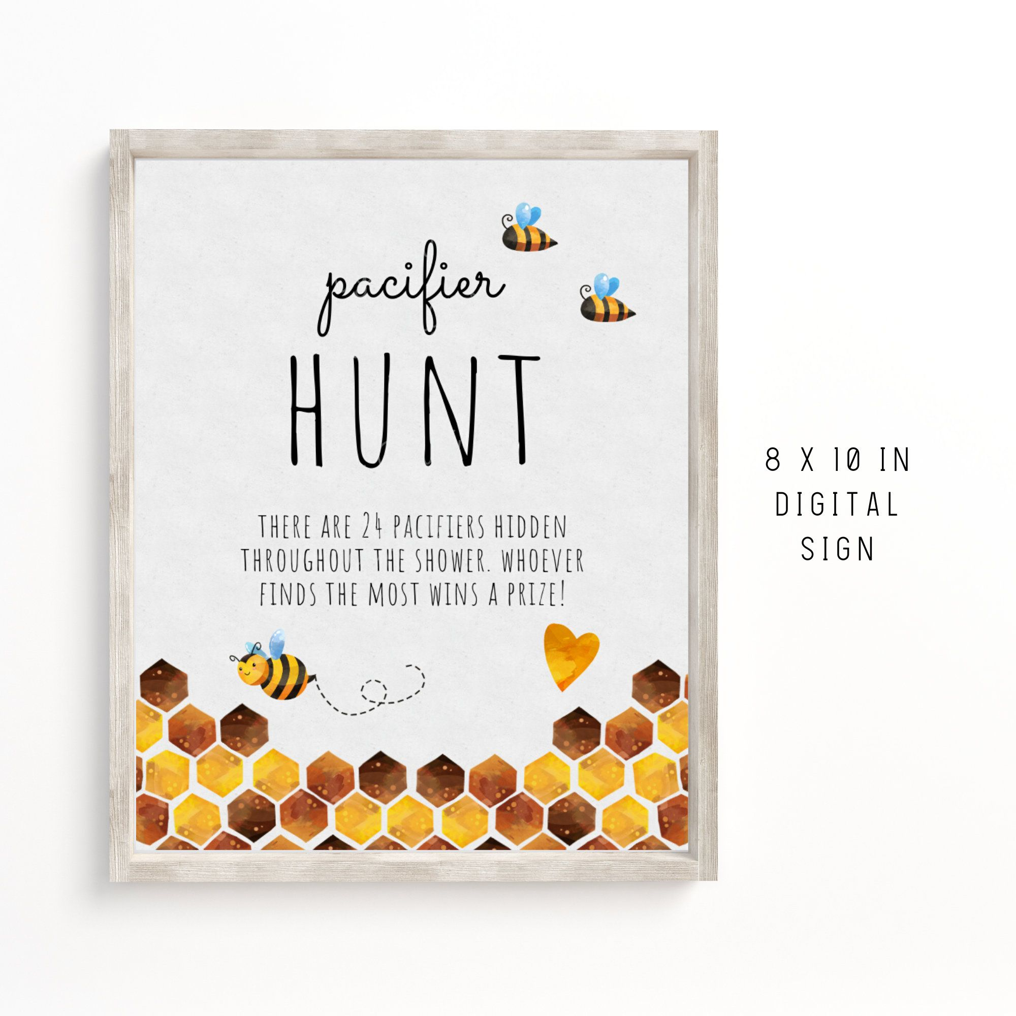 Instant Download Bumble Bee Baby Shower Pacifier Hunt Sign, 8x 10 Honey Bee Pacifier Hunt Sign, Printable Bee Baby Shower Sign, BEBS01