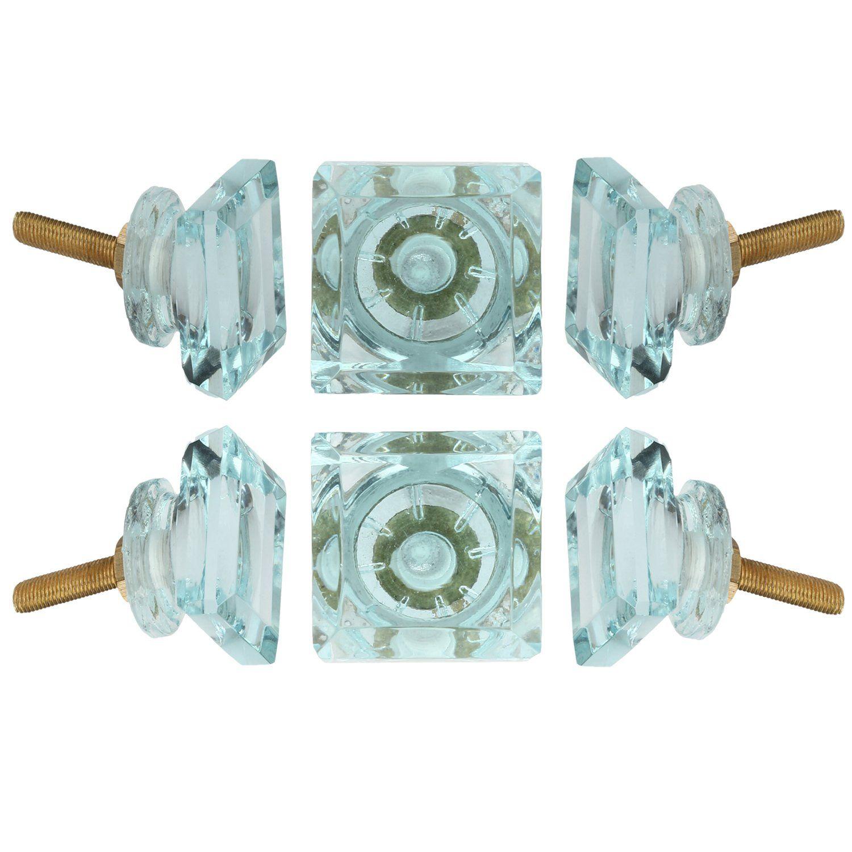 Set of 6 Crystal Glass Knobs Kitchen Cabinet Cupboard Glass Door ...