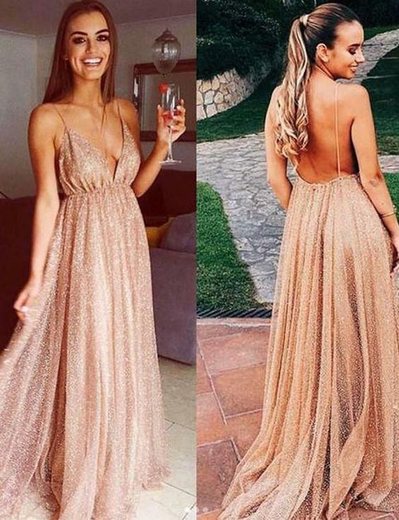 3dc3e91ba83c Long Sequins Evening Dresses Plunge V-neck Prom Gowns 2019,M0555 in ...
