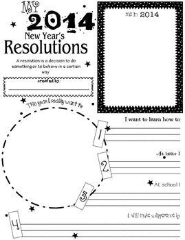 My New Year S Resolutions 2014 New Years Activities Teaching Writing Teaching Holidays