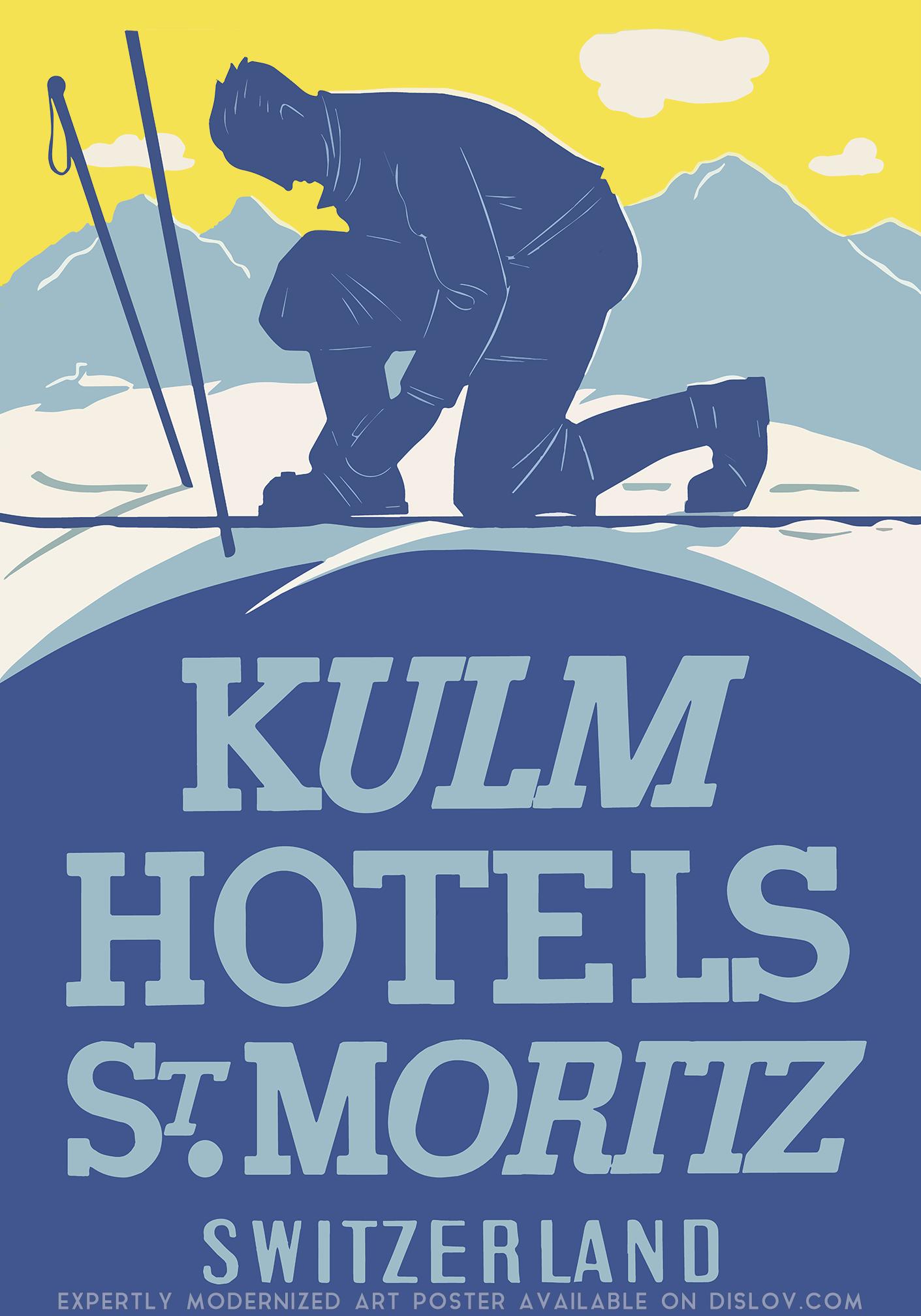 Dislov Kulm Hotels Modernized Vintage Art Poster Dislov Art Is