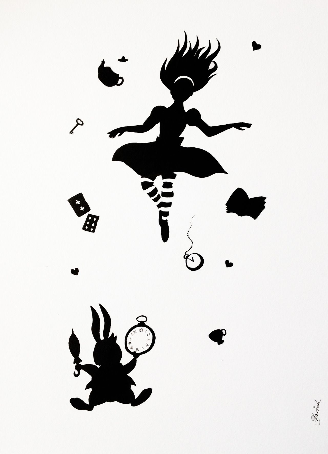 Akreampuff Art — Some Alice down the rabbit hole for INKtober day...