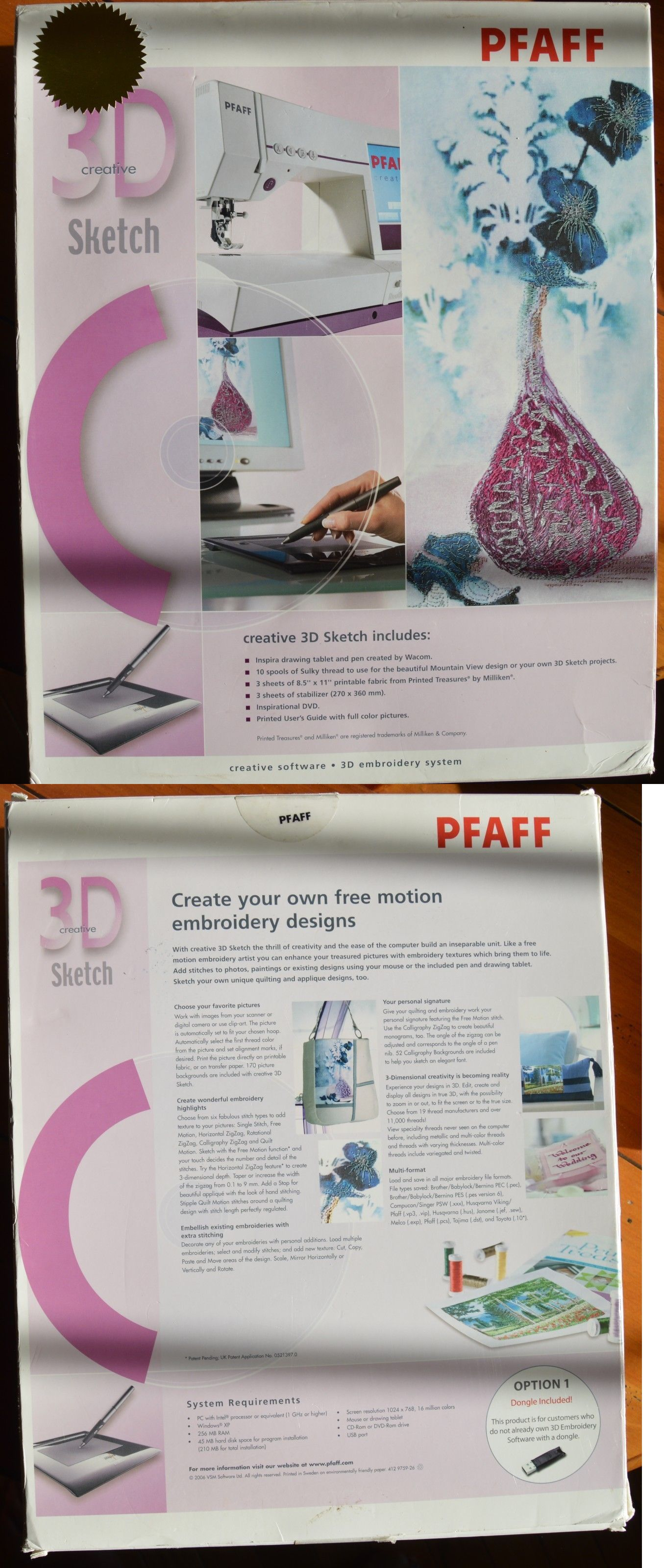 Digitizing Software 71197 Pfaff 3d Creative Sketch Software Windows W Tablet And Pen Plus A Dongle New Sketch Software Creative Sketches Drawing Tablet