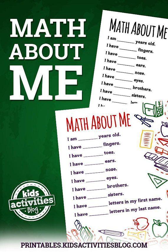 Math About Me Printable Worksheet Fun Ideas for Kids Pinterest