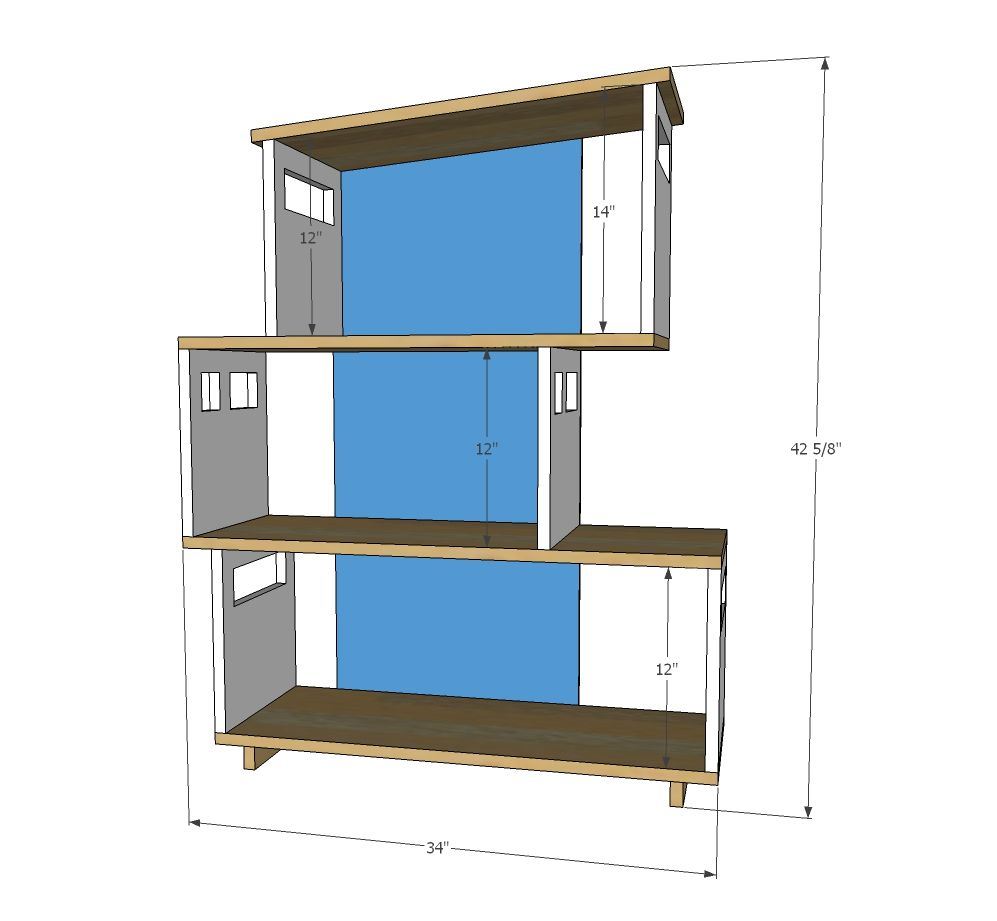 Ana white build a modern dollhouse bookshelf free and for Diy modern bookshelf