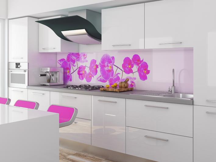 Vetro stampato modello orchidea schienali cucina - Schienale cucina in vetro temperato ...
