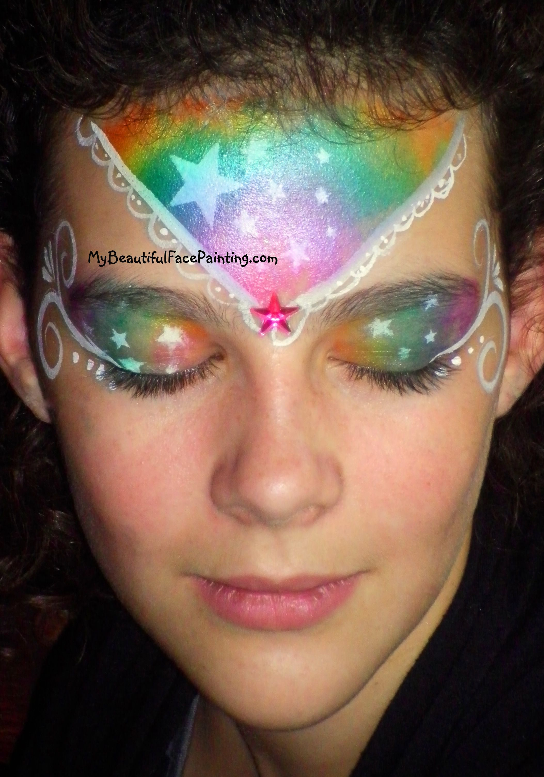 Rainbow Dramatic Crown With Stars Face Paint Face Painting Designs Face Painting Easy Face Paint