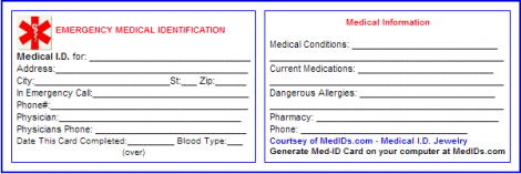 graphic relating to Printable Emergency Card Template referred to as Free of charge Printable Healthcare Identity Playing cards Exercise and Magnificence