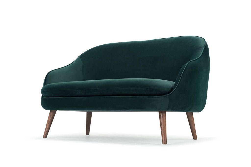 Flynn, 2-seater sofa, Velour Dark Green, Walnut stained legs
