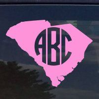 SOUTH CAROLINA SC CUSTOM CIRCLE MONOGRAM INITIALS VINYL DECAL STICKER for  CARS YETI CUP LAPTOP (