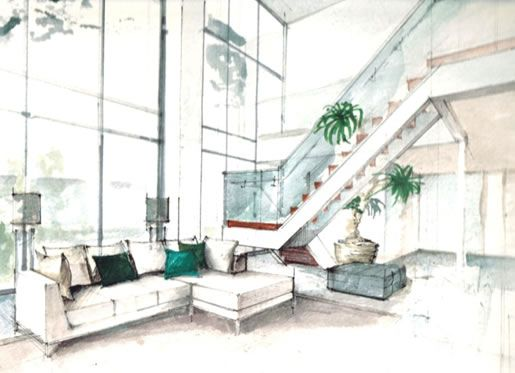 Awesome Beautiful Interior Design Drawings Perspective Pictures .