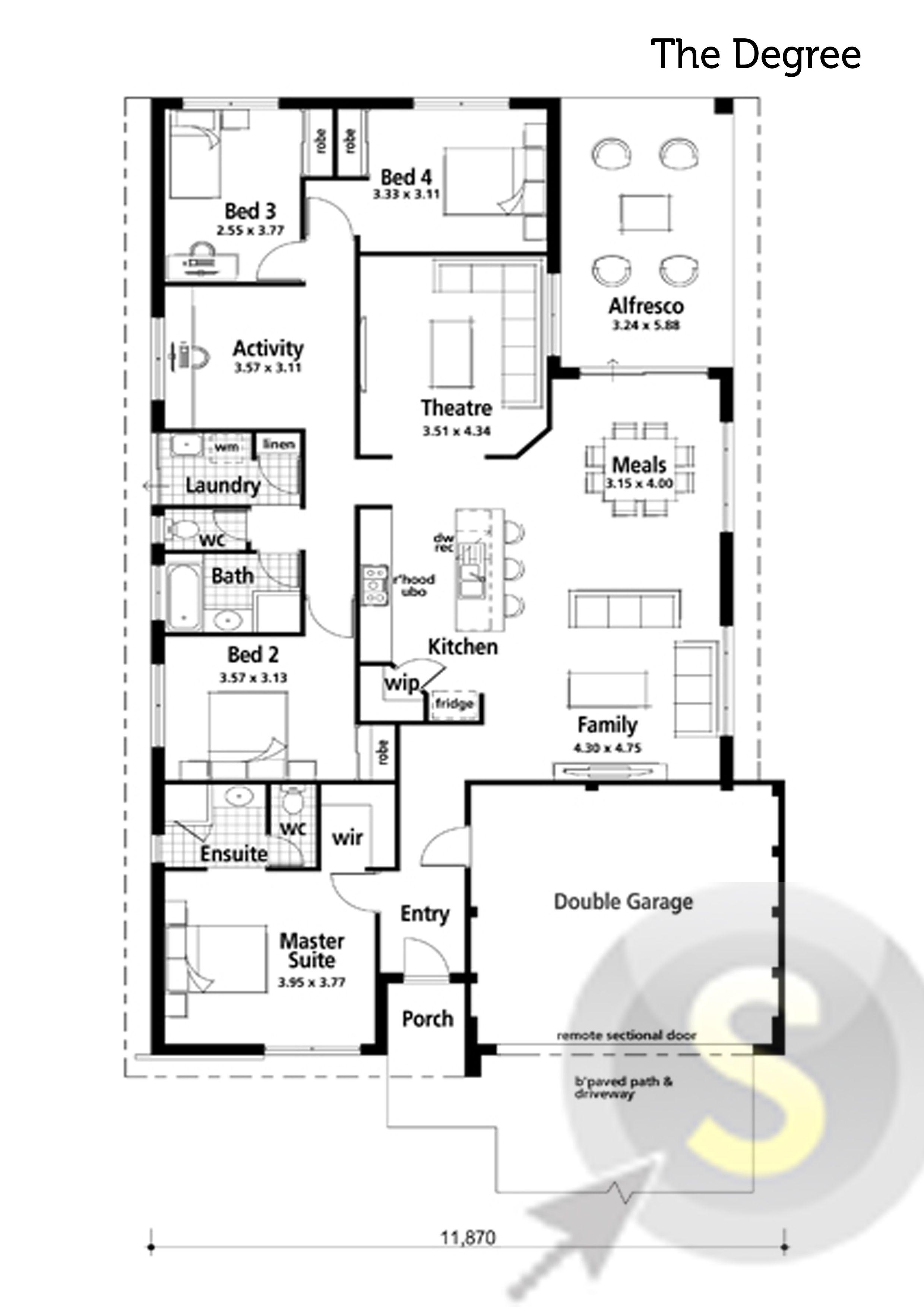 The Degree Floorplan 14m Frontage 4x2 Alfresco