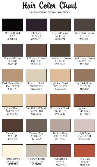 Rgb Codes For Hair And Skin Skin Color Palette Hair Color Chart
