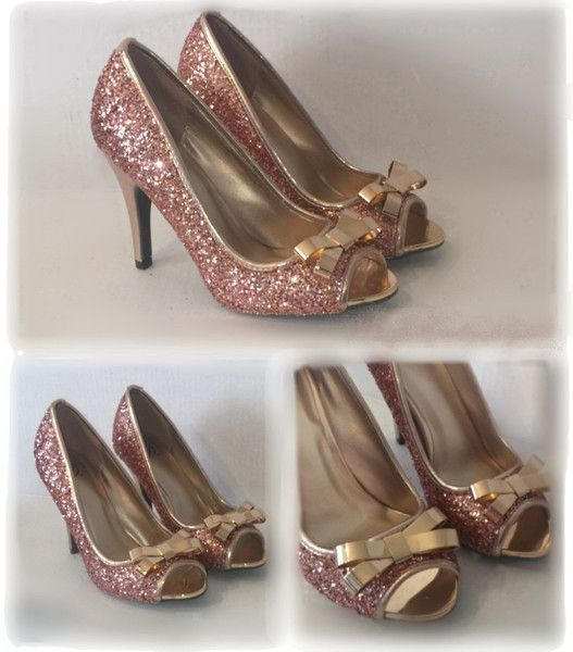 ... better 3d958 071b5 Womens Sparkly Rose Gold Glitter Heels shoes Wedding  Bride Prom Peep Toe SALE 21ab897e45b8