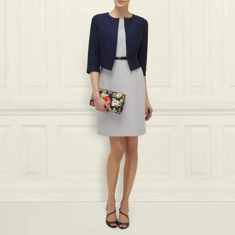 L.K. Bennett's Vanda A-Line Shift Dress in Silver.  Pair with Vanda Cropped Jacket in Navy.