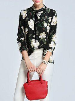 22d7311148d035 Multicolor Vintage Stand Collar H-line Floral Blouse