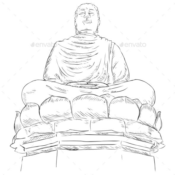 Vector Sketch Monument Buddha on the Lotus | design | Buddha